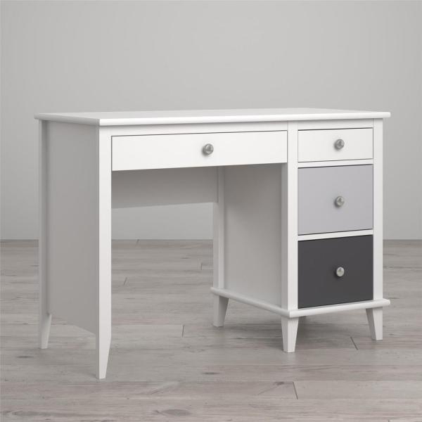 Meja Office Finishing Warna Putih Dengan 3 Laci