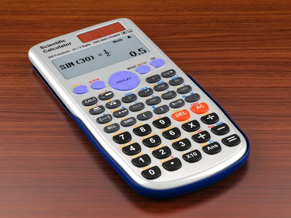 Scientific calculator on the wooden table. 3D rendering