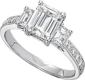 FlyerFit Three Stone Emerald Cut Engagement Ring With Pave