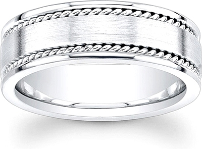 Mens Double Rope Wedding Band 8mm UI HM2508