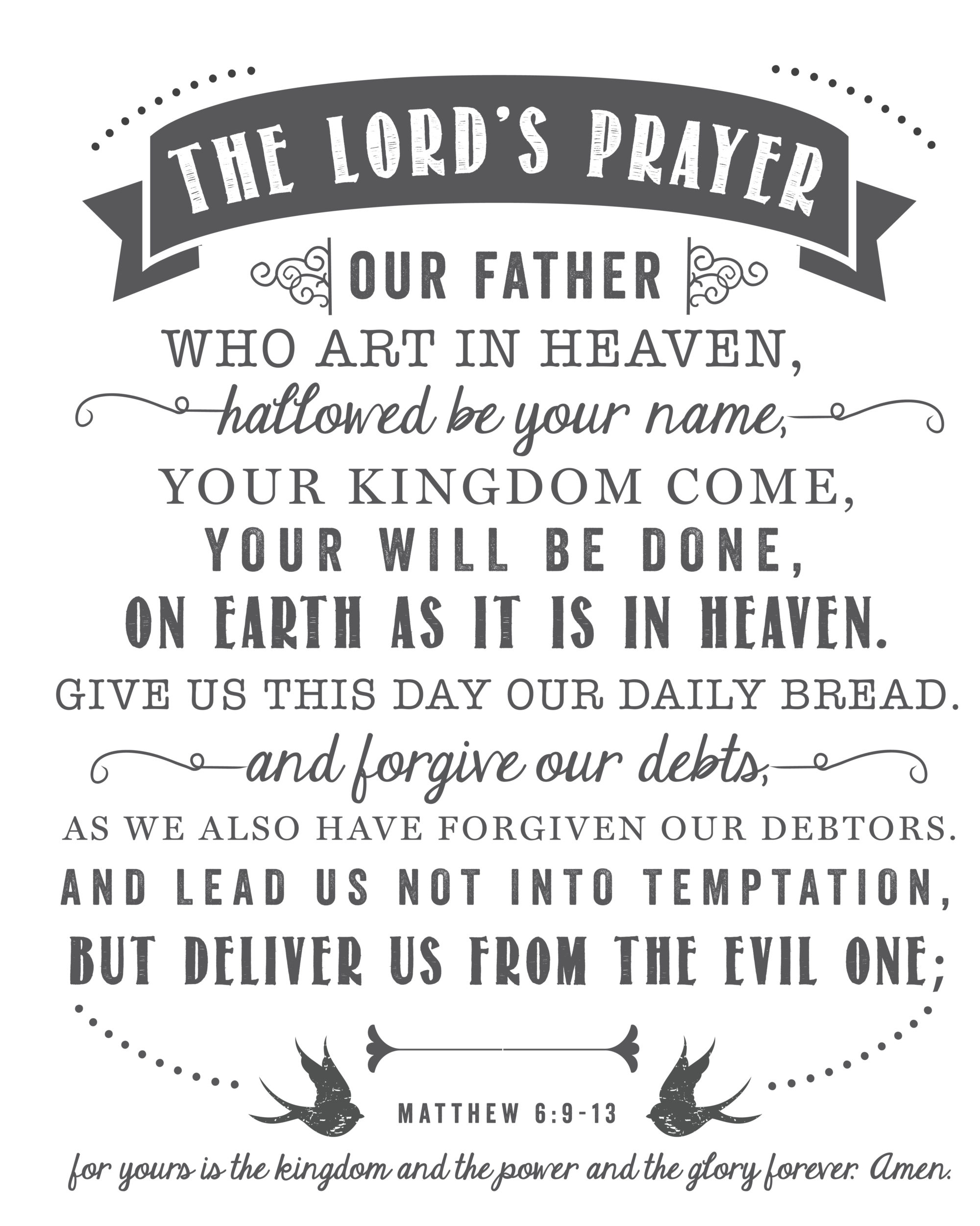 The Lord S Prayer Free Printable