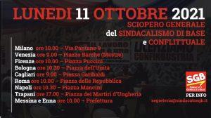 Read more about the article Video: Lunedì 11 ottobre 2021 Sciopero Generale del Sindacato di Base e Conflittuale