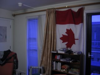 Flag and rainy windows