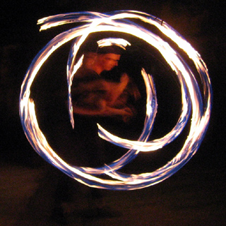 Fire spinning at Antonia's friend's party