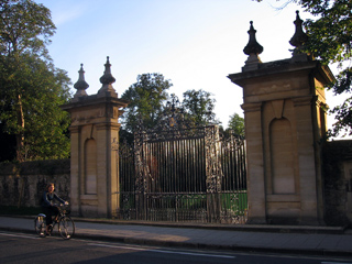 Trinity College gates, on Parks Road
