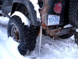 Rusty icy truck