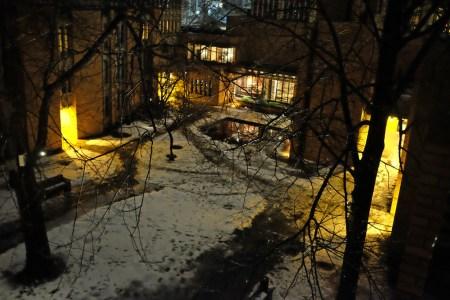 Icy quad, Massey College