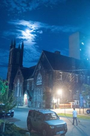Toronto church and moon