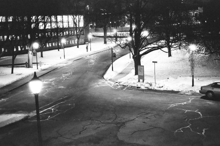 Snow and streetlamps
