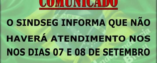 Comunicado feriado de 7 de setembro