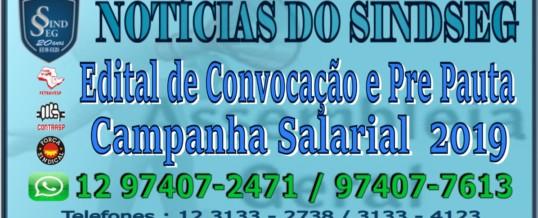 Edital de Convocação e Pre pauta da Campanha Salarial 2019
