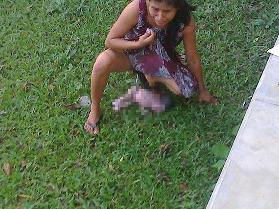 Irma, la mujer mazateca que dio a luz en una jardinera en Oaxaca. Foto: Facebook.