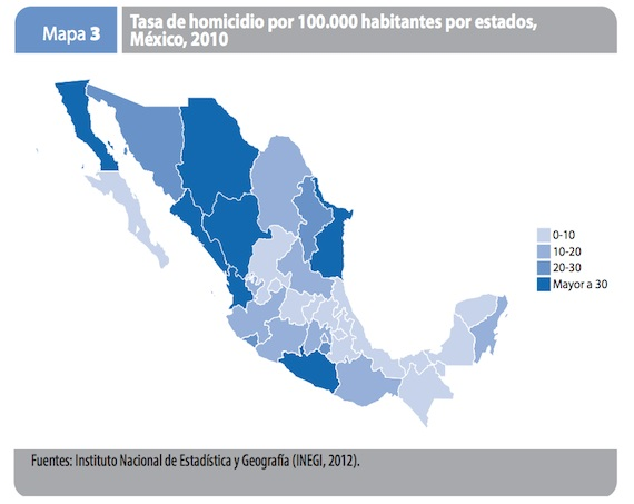 En México, de acuerdo con la ONU, el estado de Chihuahua tiene una tasa de 194 homicidios por cada 100 mil habitantes, mientras que Yucatán, que es el estado más seguro, tiene una tasa de 1.74. Gráfica: ONU