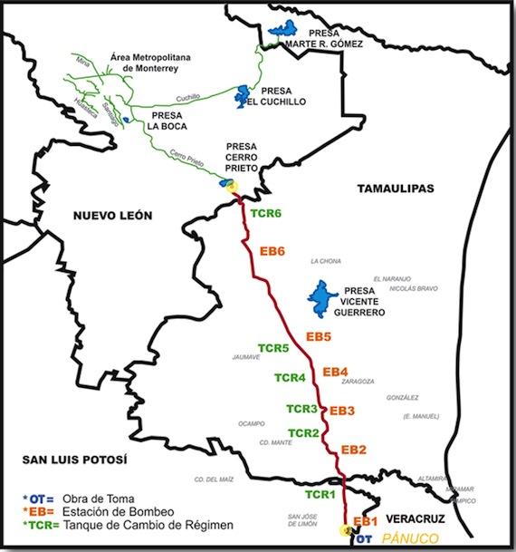 El proyecto consiste en la construcción de un acueducto de 372 kilómetros. Foto:  Servicios de Agua y Drenaje de Monterrey.