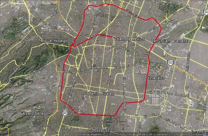 La imagen muestra el recorrido que realizarán los ciclistas este sábado para unirse a la jornada global por Ayotzinapa. Foto: Facebook