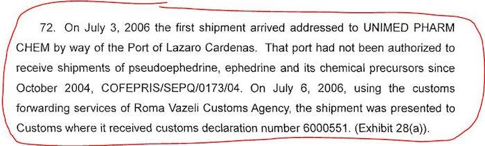 Reporte de la justicia mexicana al gobierno de Estados Unidos sobre la incautación de un cargamento de seudoefedrina y efedrina en el puerto de Lázaro Cárdenas. Imagen: Univisión.