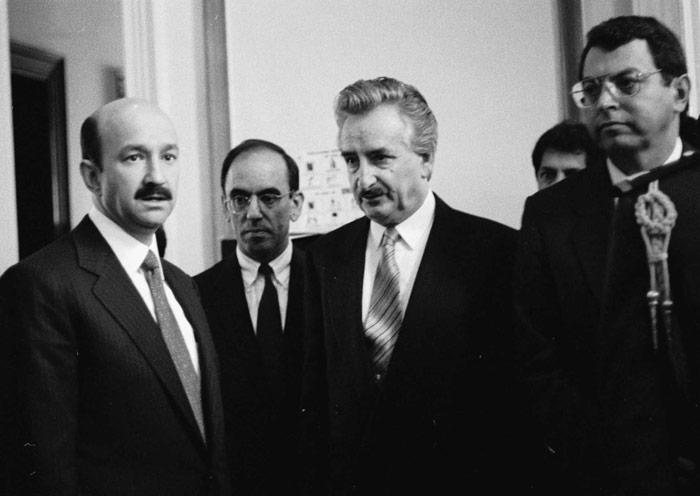 Aquél equipo. El ex Presidente Salinas, José Córdova Montoya, Fernando Gutiérrez Barrios y Manuel Camacho Solís. foto: Cuartoscuro