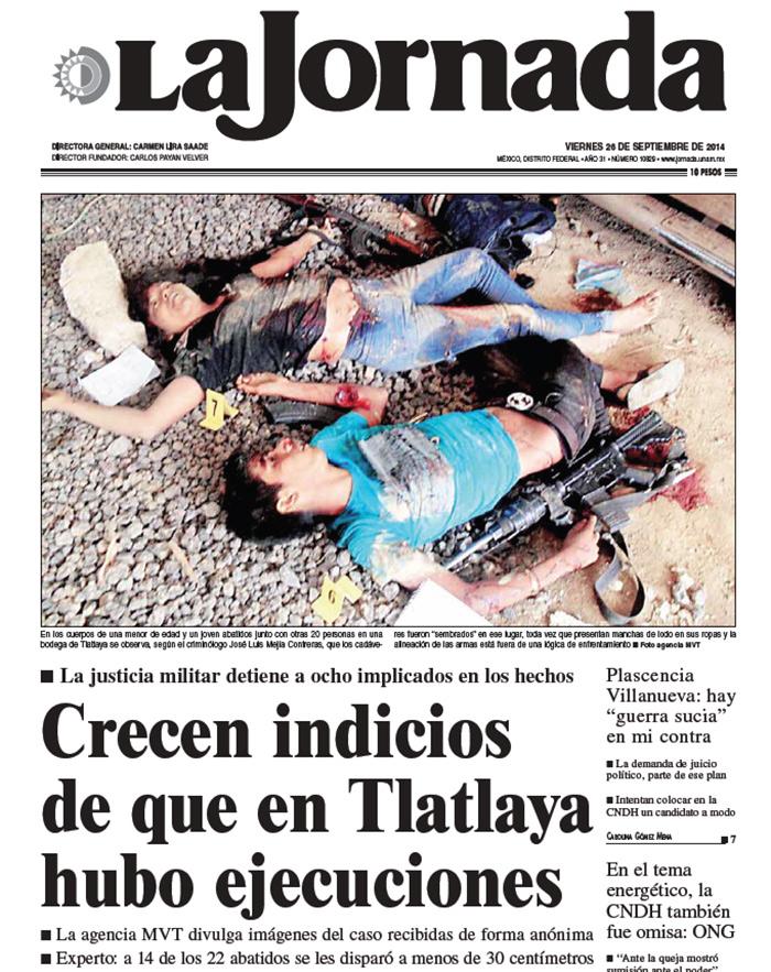 Érika Gómez, ejecutada a los 14 años por militares en Tlatlaya. Imagen de portada de La Jornada de 26 de septiembre de 2014
