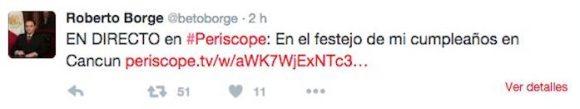 El tuit que hacía referencia que el evento era dedicado a su cumpleaños y que después desapareció Foto: especial