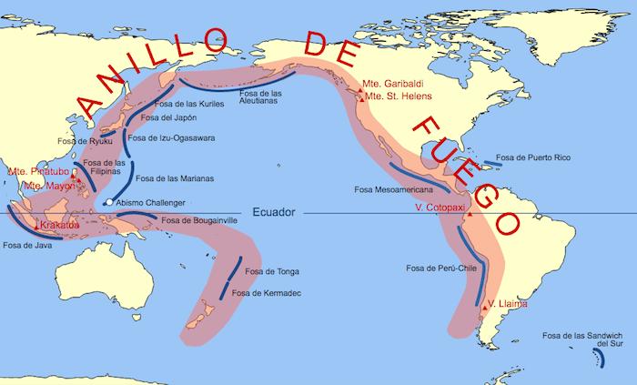 En esta zona se encuentran la mitad de los volcanes activos del mundo. Foto: Commons Wikimedia