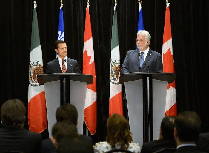 Ayer el Presidente Enrique Peña Nieto y el Primer Ministro de Quebec Philippe Couillerd ofrecieron una conferencia de prensa. Foto: Presidencia