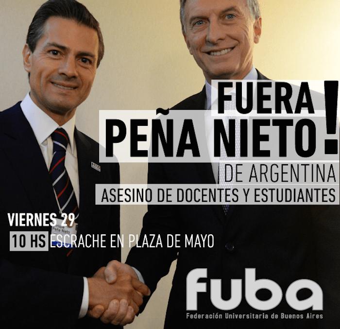 Estudiantes argentinos rechazan la visita de Peña Nieto. Foto: Facebook