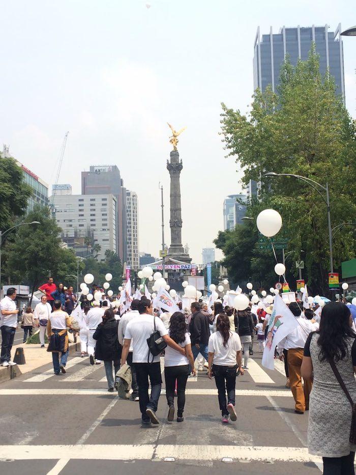 """La marcha """"Por la Familia"""" se congregó detrás del Ángel de la Independencia donde realizaron un mitin. Foto: Cuartoscuro"""
