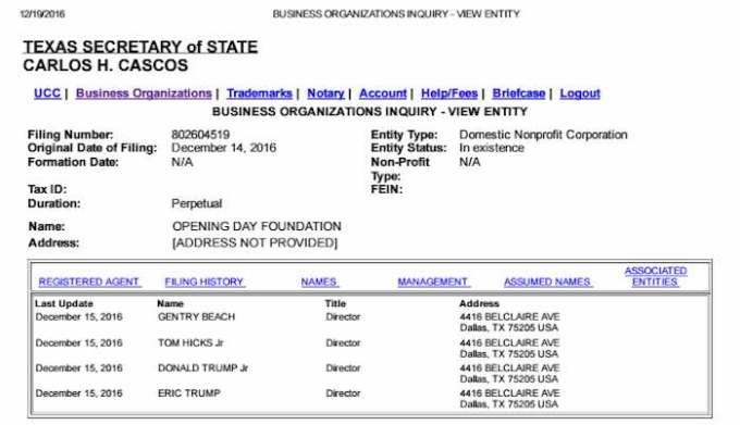 En la imagen, el registro legal en Texas de la fundación que data del 14 de diciembre de 2016, cuyos directivos son los dos hijos de Trump, además de los señores Beach y Hicks Jr. Foto: documentcloud.org.