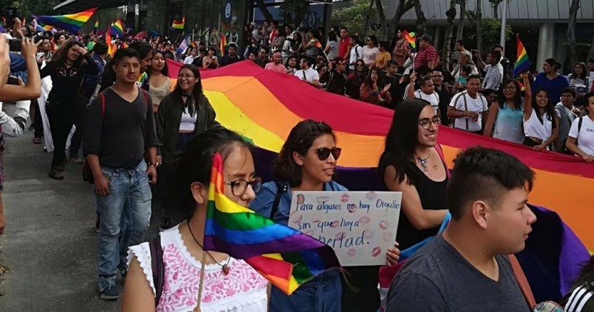 pride puebla - Después de una polémica, la comunidad LGBT regresa el arcoíris a un paso peatonal de Puebla