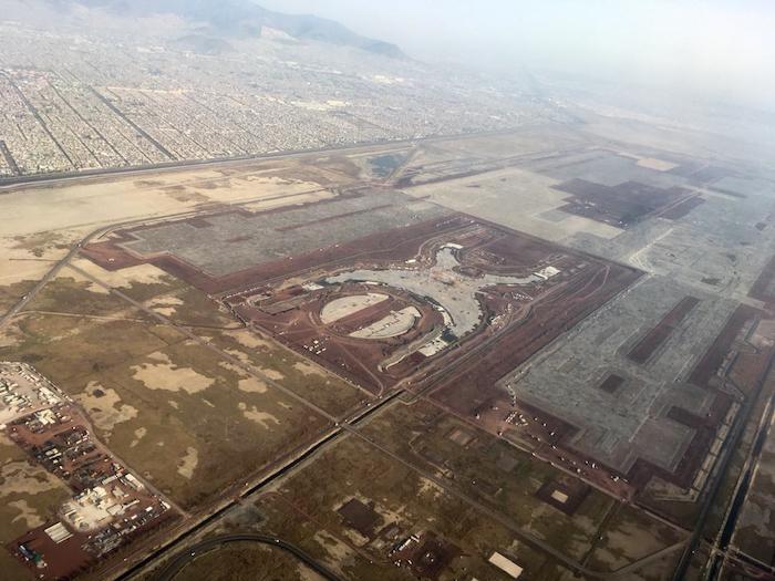 Vista aérea de la construcción en Texcoco, Estado de México, del Nuevo Aeropuerto Internacional de la Ciudad de México.