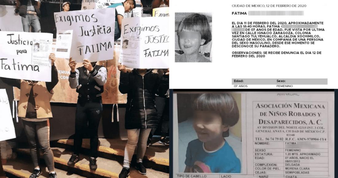 Fátima, menor de 7 años de edad reportada como desaparecida desde el 11 de febrero, fue hallada sin vida el sábado en calles de la Alcaldía Tláhuac de la Ciudad de México. Fotos: Twitter @Xochimilco_DF, @FiscaliaCDMX, Especial