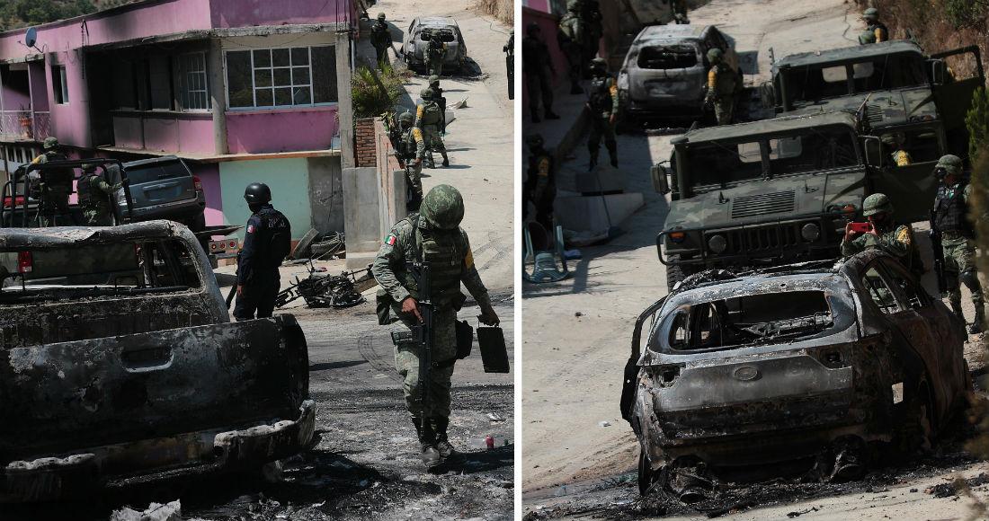 Combo de fotografías fechadas el 30 de mayo de 2020, que muestra a miembros del Ejército mexicano mientras buscan información donde se registro un enfrentamiento entre grupos armados, en el poblado de Tepozonalco, el pasado 29 de mayo de 2020.