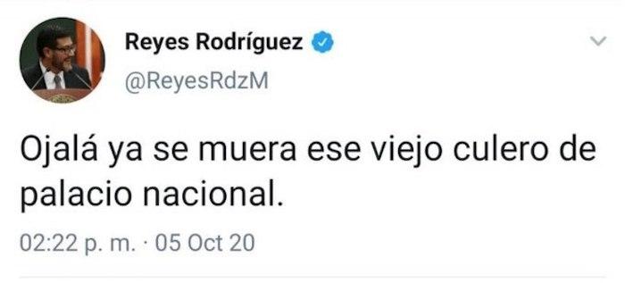 El primer tuit que se publicó en la cuenta de Twitter de Reyes Rodríguez.
