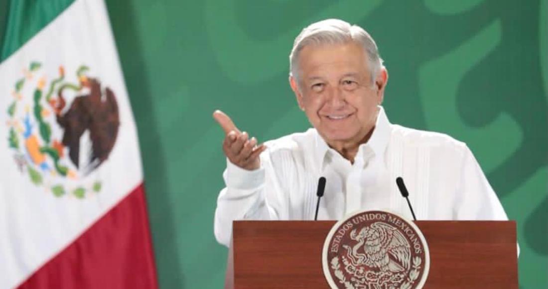 El Presidente Andrés Manuel López Obrador en su conferencia de prensa matutina desde Coatzacoalcos, Veracruz.