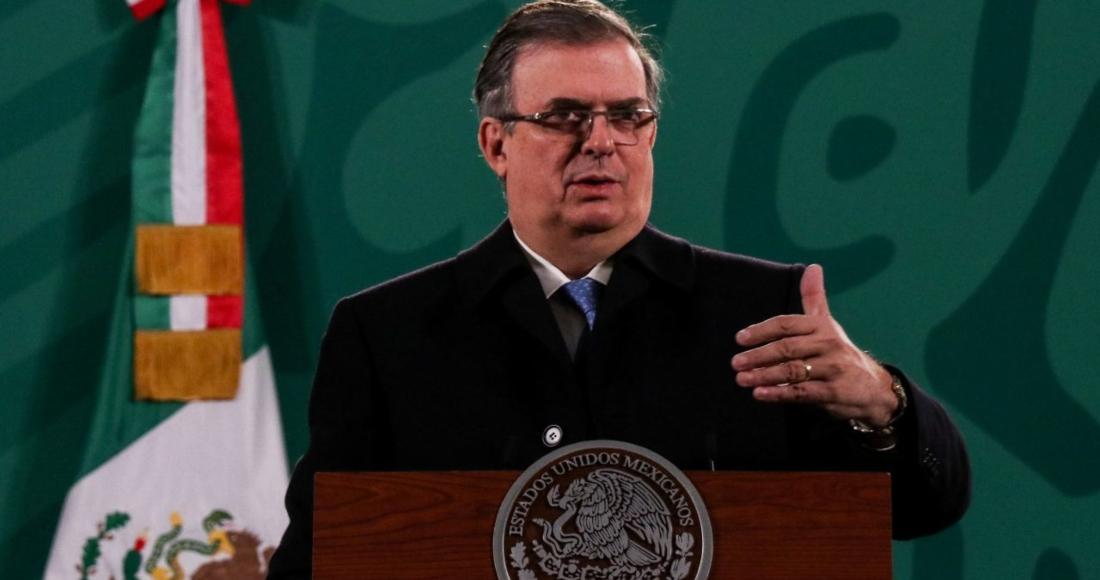 El Secretario de Relaciones Exteriores, Marcelo Ebrard, durante una conferencia de prensa.