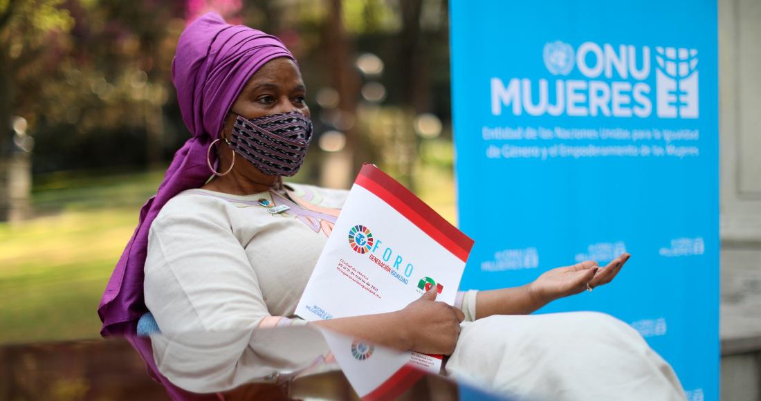 La directora de ONU Mujeres, Phumzile Mlambo-Ngcuka, durante una entrevista con EFE, el 30 de marzo de 2021 en Ciudad de México (México).