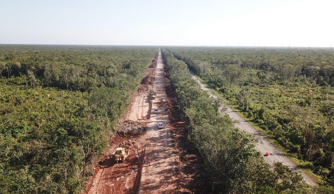Foto construcción del Tren Maya