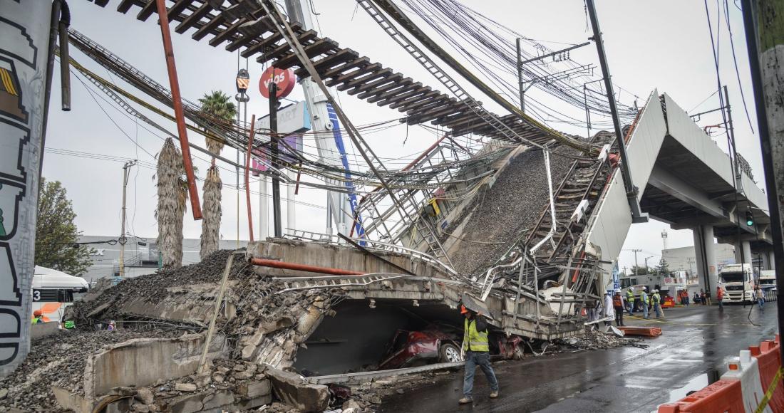Comenzaron los trabajos de remoción de escombros de la zona del accidente del Metro de la Línea 12, ocurrido cerca de la estación Olivos.