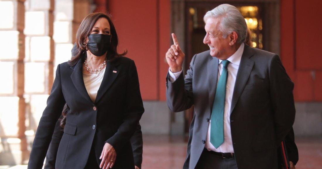 La Vicepresidenta de Estados Unidos, Kamala Harris, y el Presidente Andrés Manuel López Obrador en Palacio Nacional.