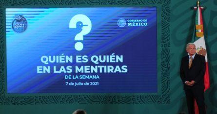 """El Presidente Andrés Manuel López Obrador en el """"quién es quién en las mentiras""""."""