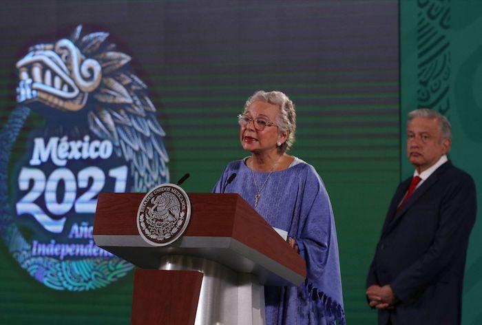 Olga Sánchez Cordero en una conferencia matutina del Presidente Andrés Manuel López Obrador.