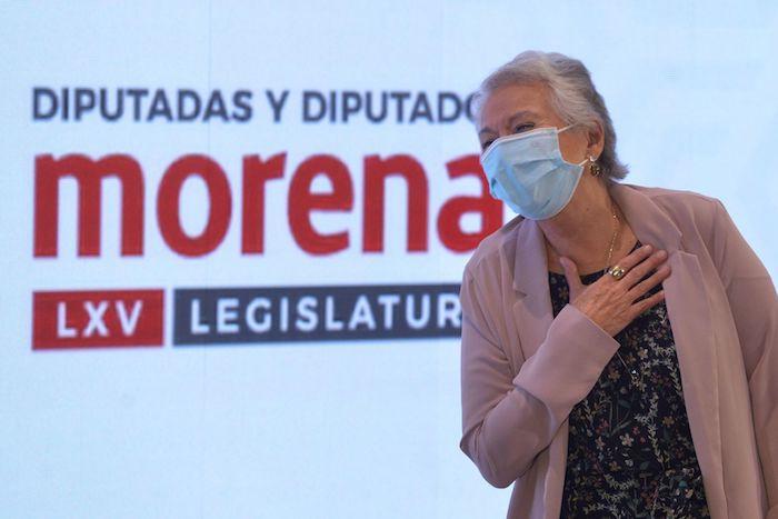 Olga Sánchez Cordero, exsecretaria de Gobernación, durante su participación con motivo del segundo día de la reunión plenaria del grupo parlamentario de Morena de la Cámara de Diputados.