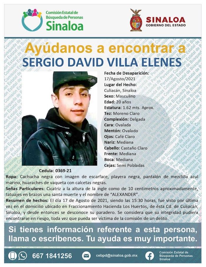 Sergio, de 20 años, desaparece en Culiacán; familia acusa que policías se lo llevaron