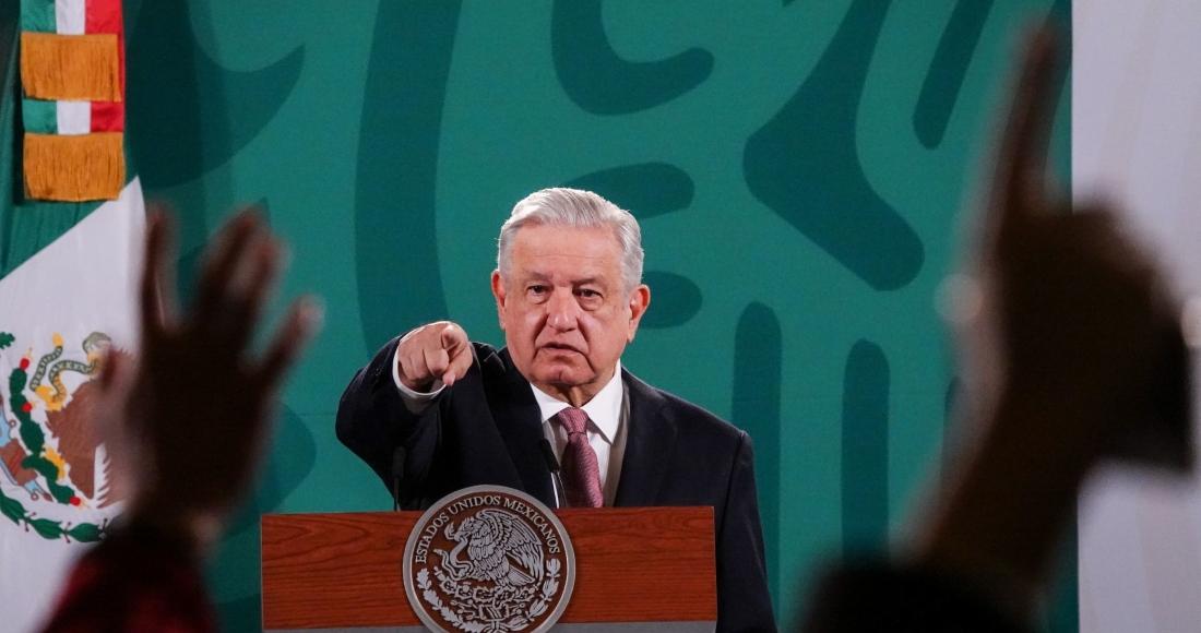 El Presidente Andrés Manuel López Obrador en conferencia de prensa.