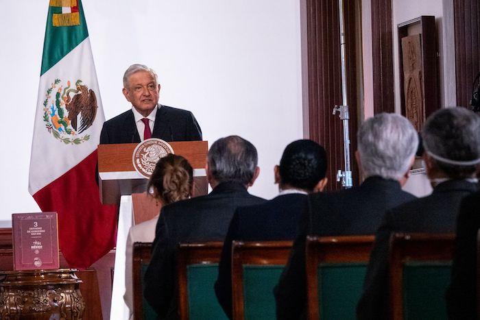 El Presidente Andrés Manuel López Obrador mientras rinde su Tercer Informe de Gobierno.