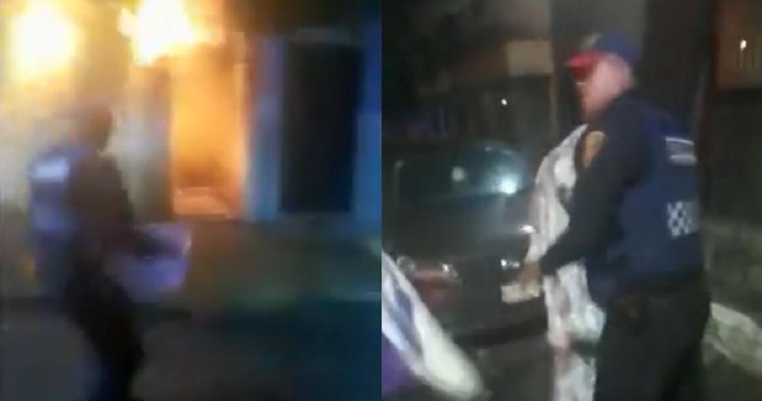 Policías sofocan incendio en la cdmx