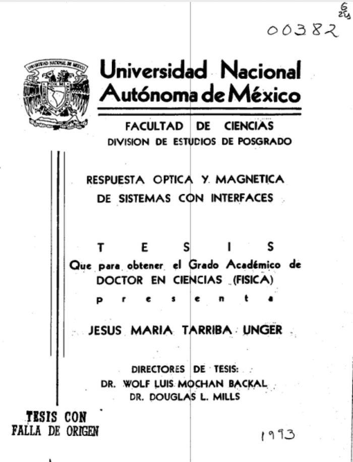 Tesis que realizó Jesús María Tarriba Unger para obtener su doctorado.