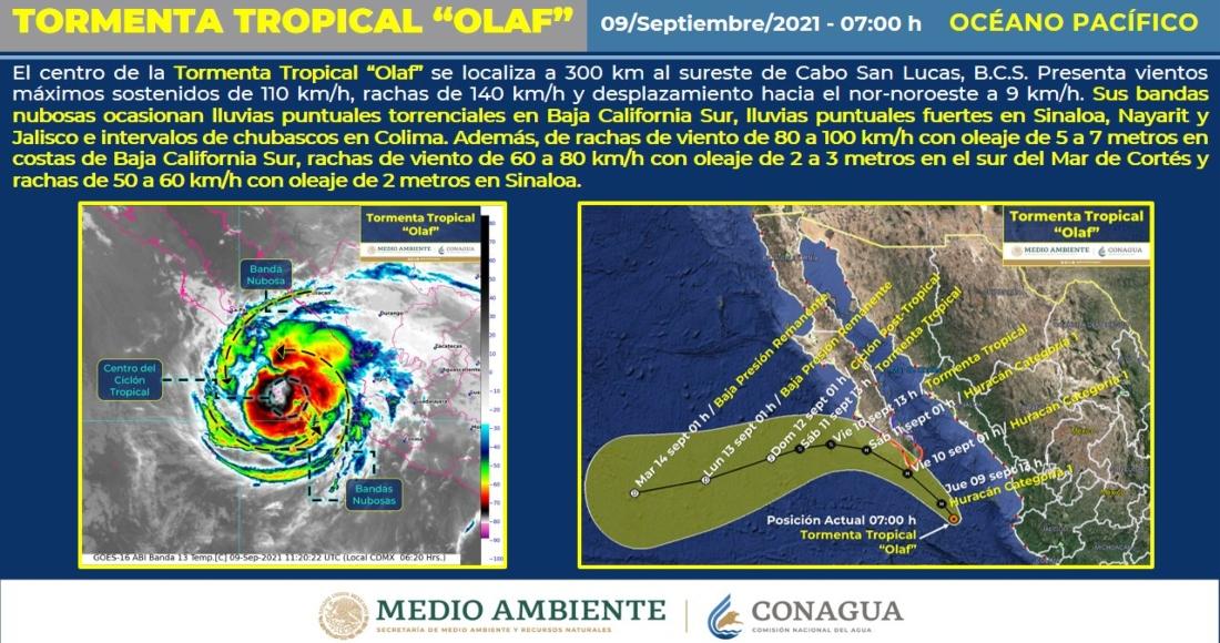 """La tormenta tropical """"Olaf"""" se sigue intensificando gradualmente."""