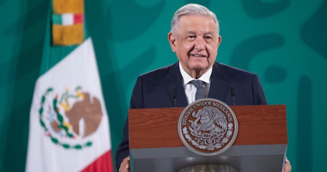 El Presidente Andrés Manuel López Obrador en su conferencia desde Palacio Nacional.