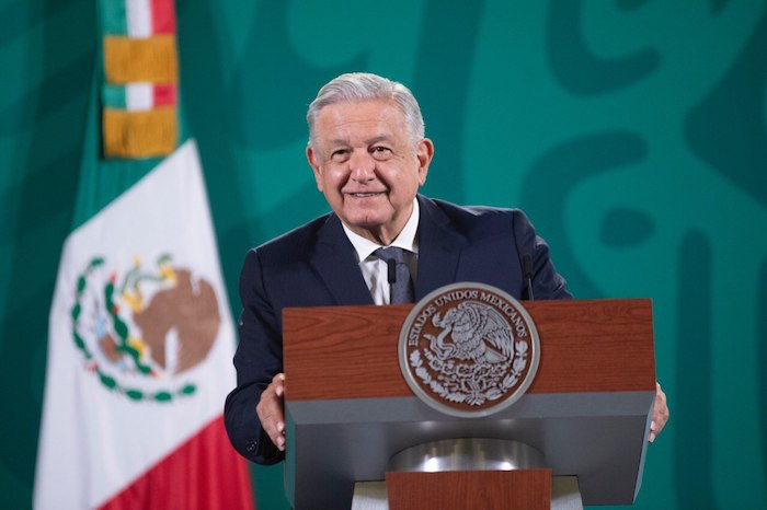 El Presidente Andrés Manuel López Obrador en su conferencia de prensa desde Palacio Nacional.